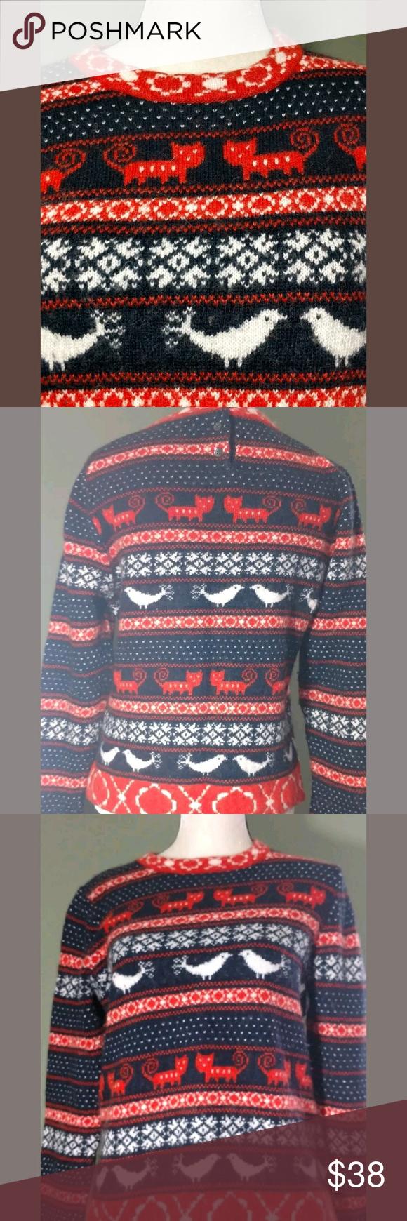 J. Crew Farmyard Fair Isle Cat Bird Sweater