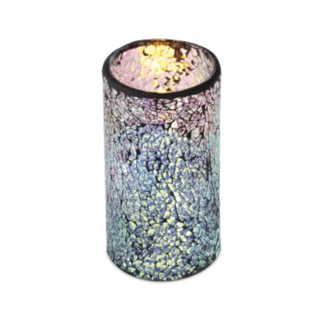 silver flameless wax led pillar candles in glass mosiac holders