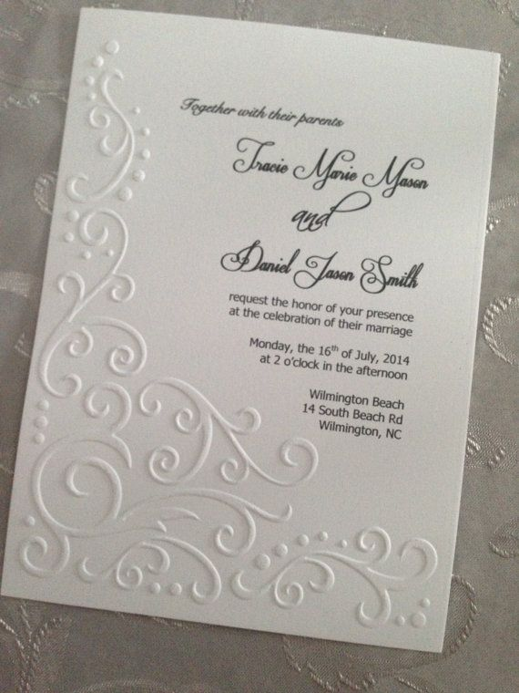 Embossed Wedding Invitation Lace