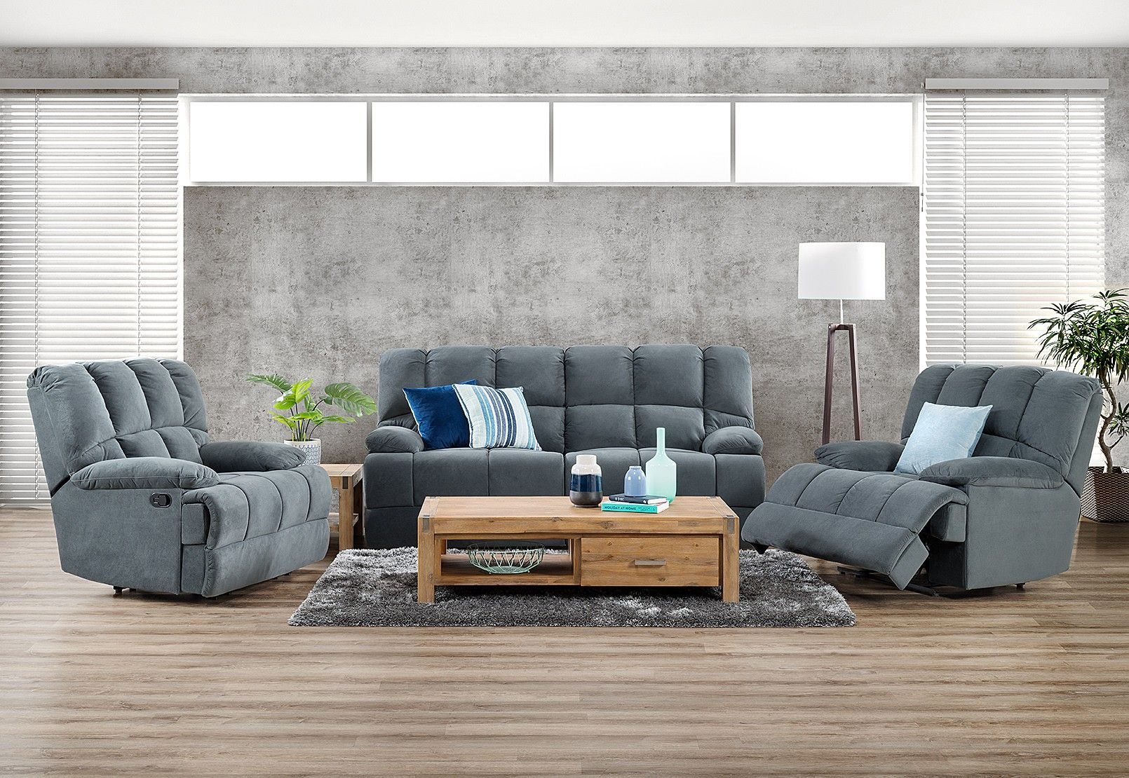 Spartacus Fabric Recliner Suite   Amart Furniture   Home ...