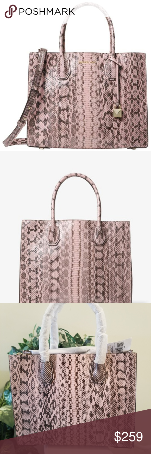 9cdc750f322c6c NWT Michael Kors Mercer Large Snakeskin Pink Tote Gorgeous and rare Michael  Kors Mercer Large Snakeskin