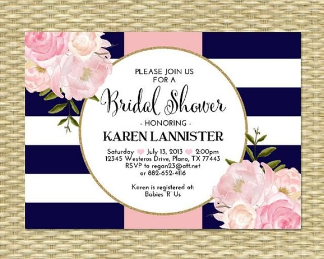 This bridal shower invitation boasts bold navy blue and white bridal shower invitation navy blue pink gold glitter stripes floral peonies bridal brunch bridal tea birthday party invitation any event 2268710 filmwisefo Images