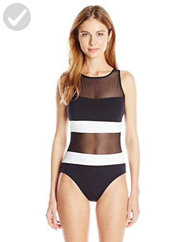 a3cb820a7d448 Anne Cole Women s Mesh High Neck One Piece Swimsuit