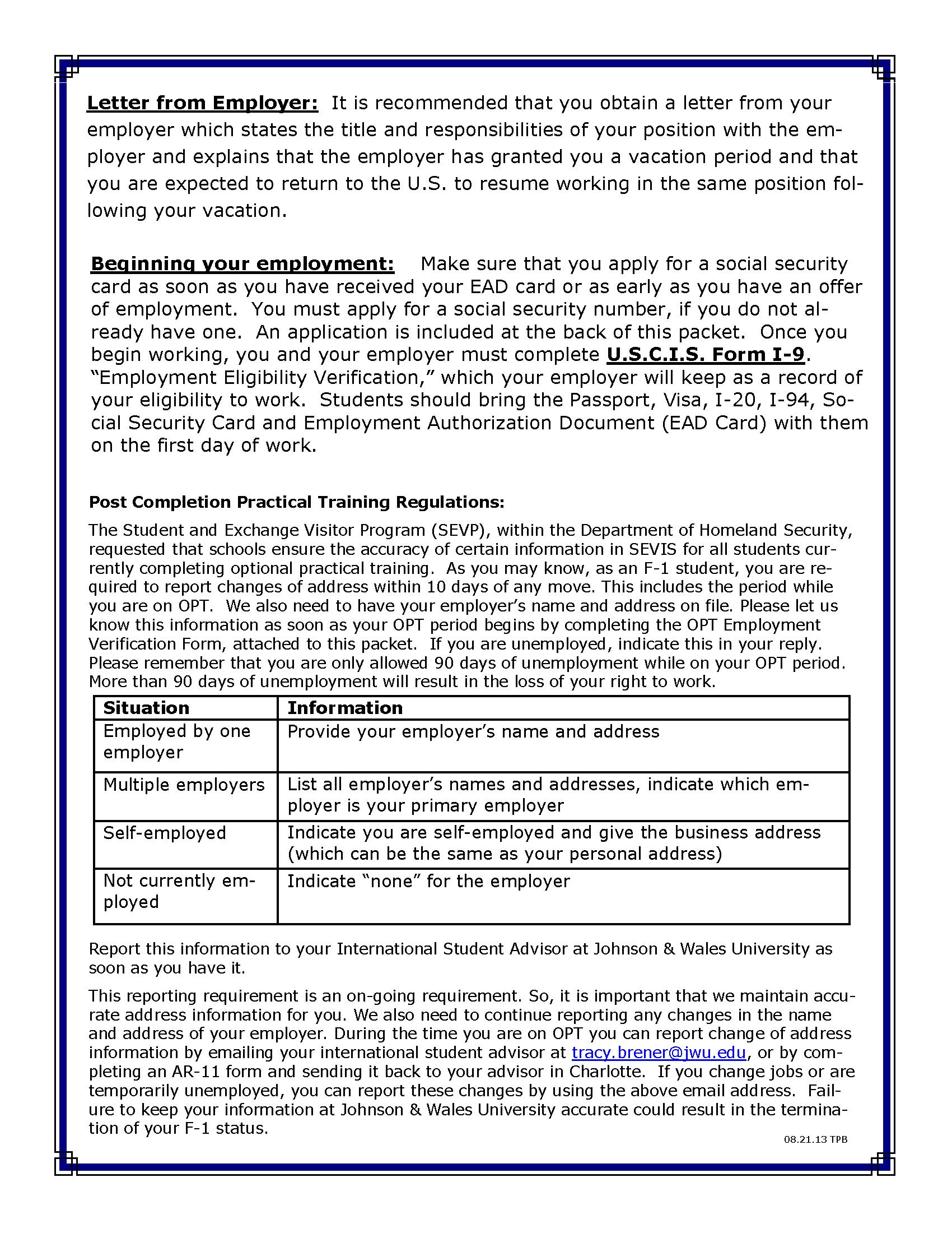 JWU OPT PROGRAM GUIDELINES PAGE 2 OF 2 Resume work