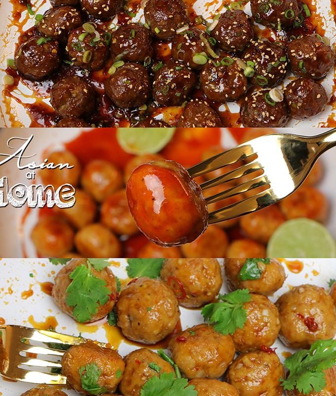 Asian Meatballs 3 Ways Recipes & Video