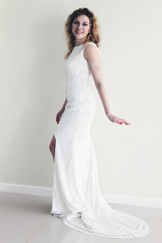 Sequin Wedding Dress, White Sequin Dress, High-Low Hem Wedding Dress ...
