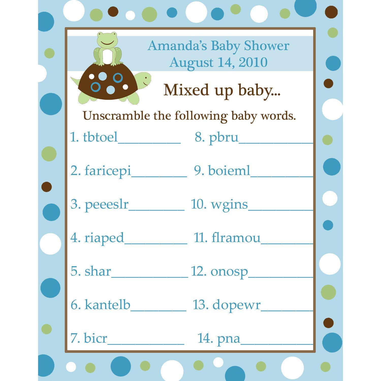 Baby Shower Scramble Hard Words