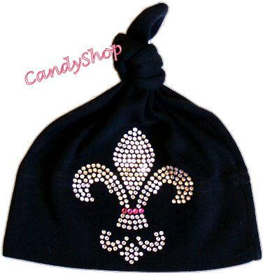 Baby Girls Black Hat - Fleur De Lis Rhinestones
