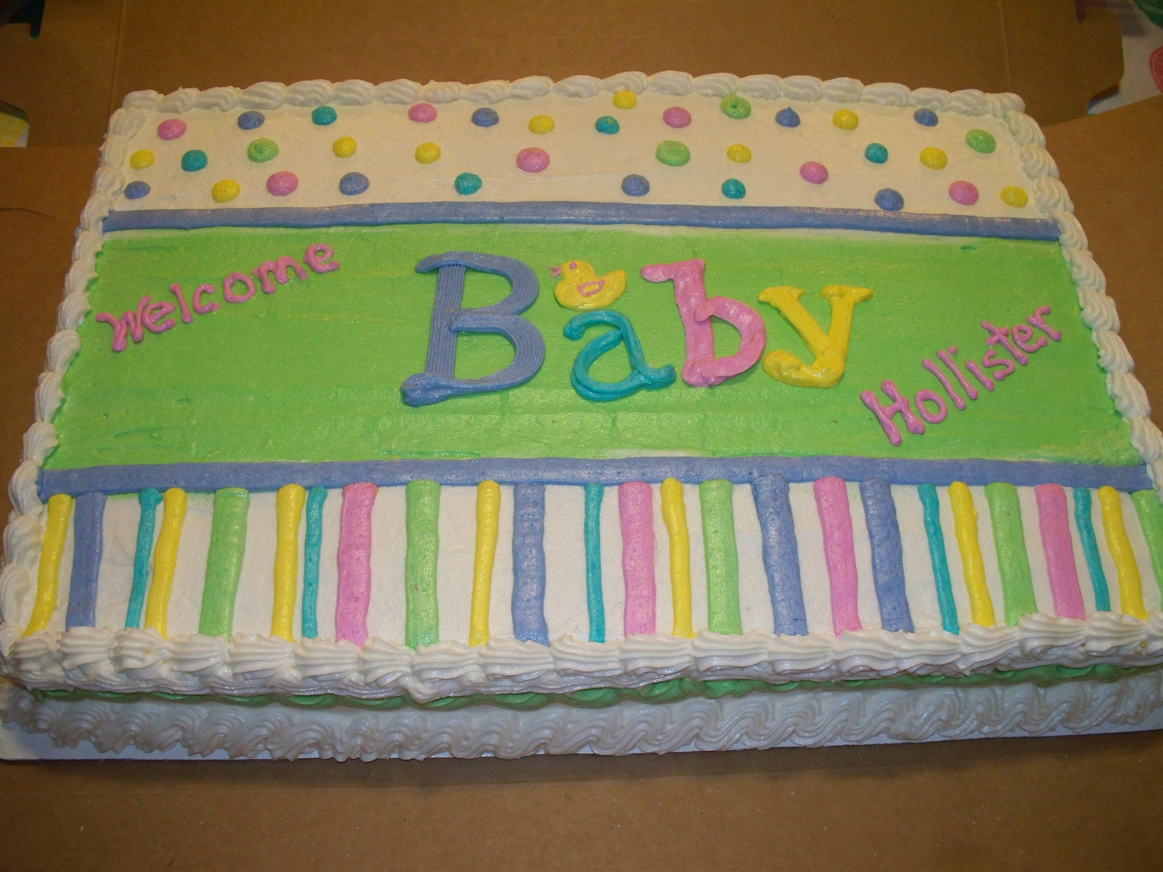 Wonderful Adorable Gender Neutral  Baby Shower Sheet Cake ***Courtesy Of Amy Clapper