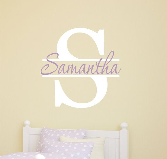 Girls bedroom vinyl wall decals girls name vinyl wall decal by lucylews 10 00