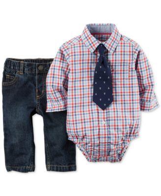 4862f6a12 Carter's Baby Boys' 3-Piece Plaid Bodysuit, Pants & Necktie Set ...