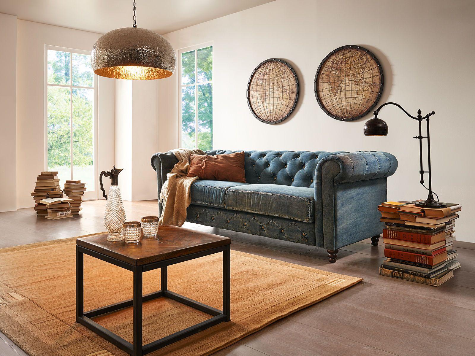 Chesterfield Sofa Jeans 17-Sitzer  Chesterfield sofa, Wohnzimmer