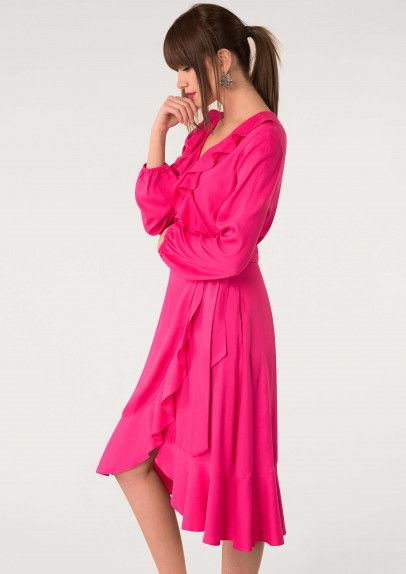 b92658e5aa9 Red Long Sleeve Frill Wrap Dress