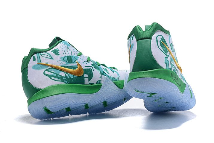 separation shoes 064d6 f7bfc Nike Kyrie 4 Boston Celtics Green White Gold Basketball Shoes-2