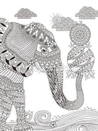 Página de adultos para colorear de elefante — Vector de stock ...