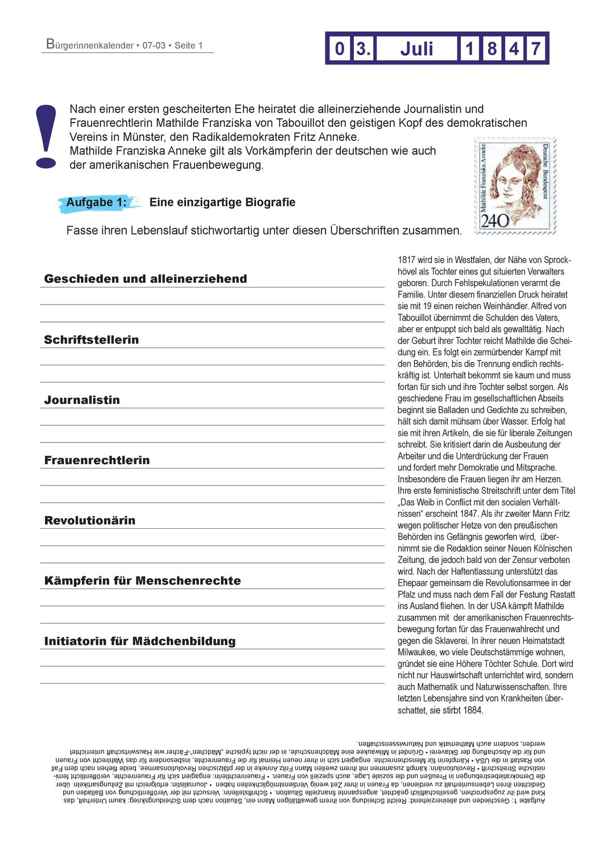 Burgerinnenkalender 03 Juli 1847 Heirat Von Mathilde Franziska Anneke Unterrichtsmaterial Im Fach Ethik Scheiternde Ehe Padagogik Gewaltenteilung