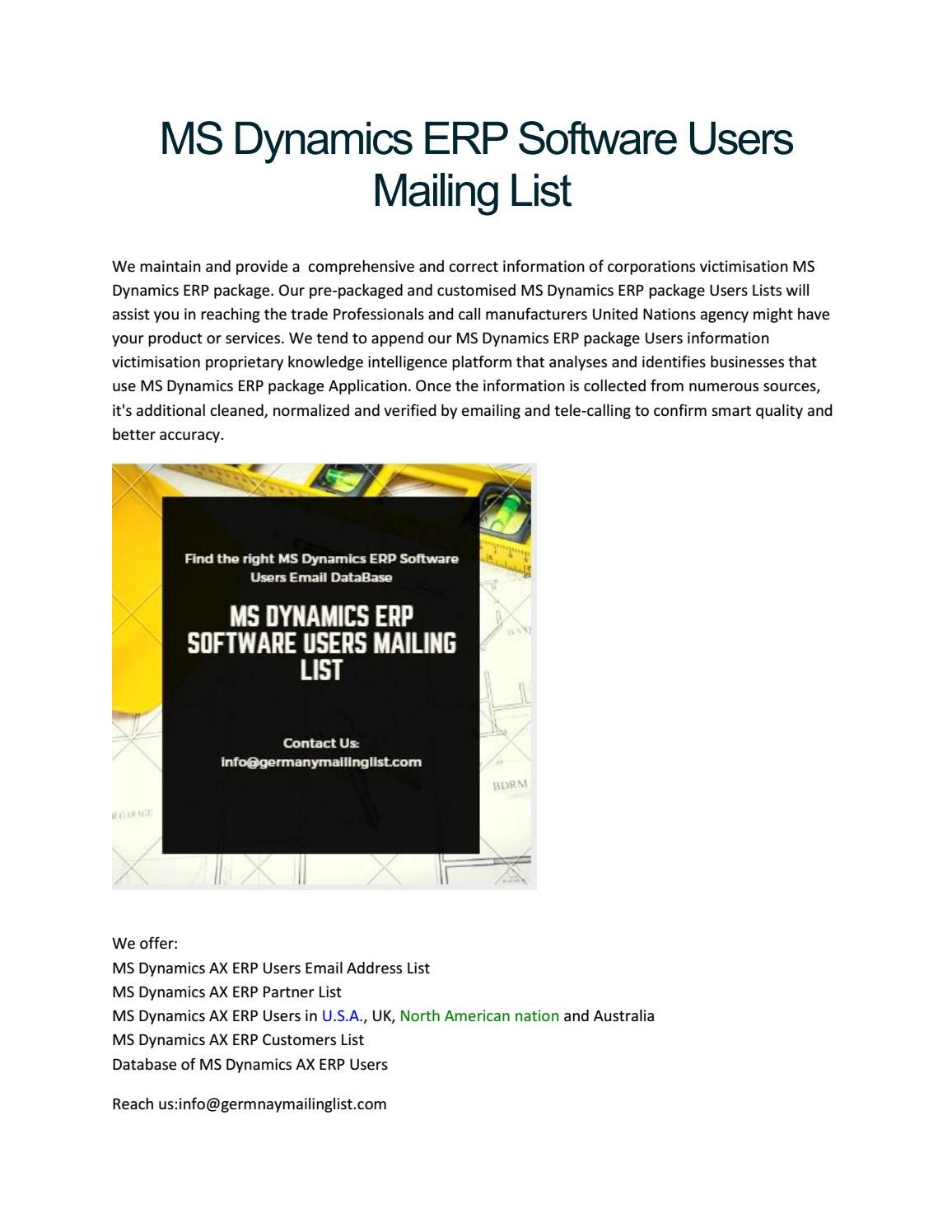 Ms dynamics erp software users mailing list Software