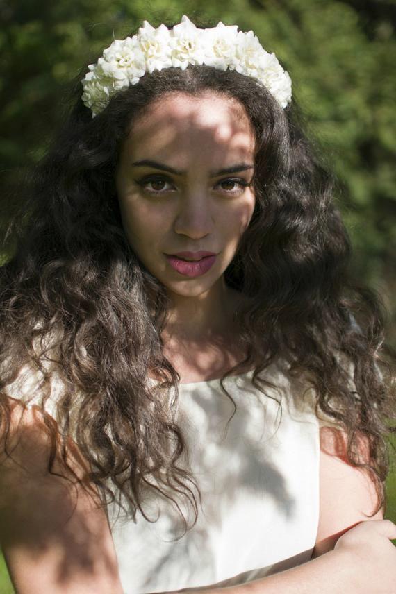 Cream Rose Flower Hair Crown Headband Garland Small Festival Vtg Floral Headpiece Wedding Bridesmaid #crownheadband