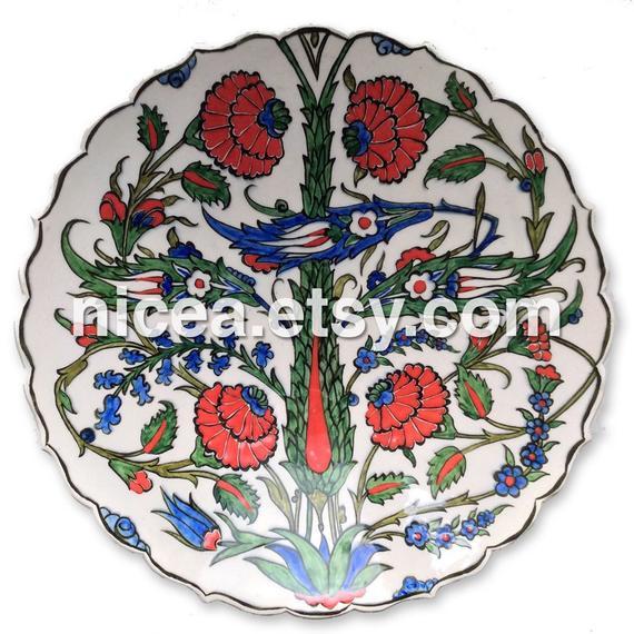 Iznik Pottery Dish With Cypress Tree Saz Leaves And Roses Handmade Home Decor Fine Art Ceram Pottery Dishes Fine Art Ceramics