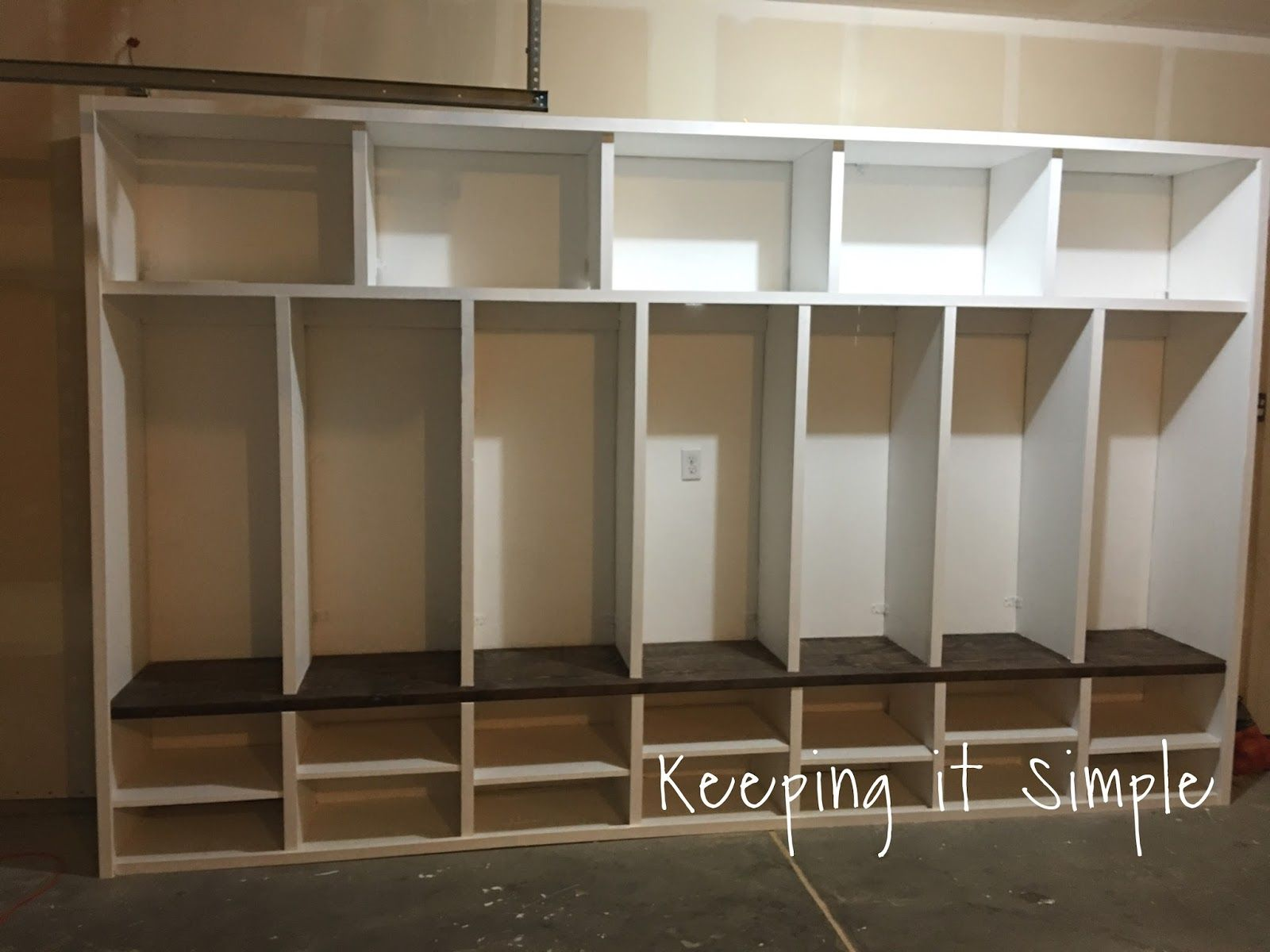 Keeping it simple diy garage mudroom lockers with lots of for Garage mudroom plans