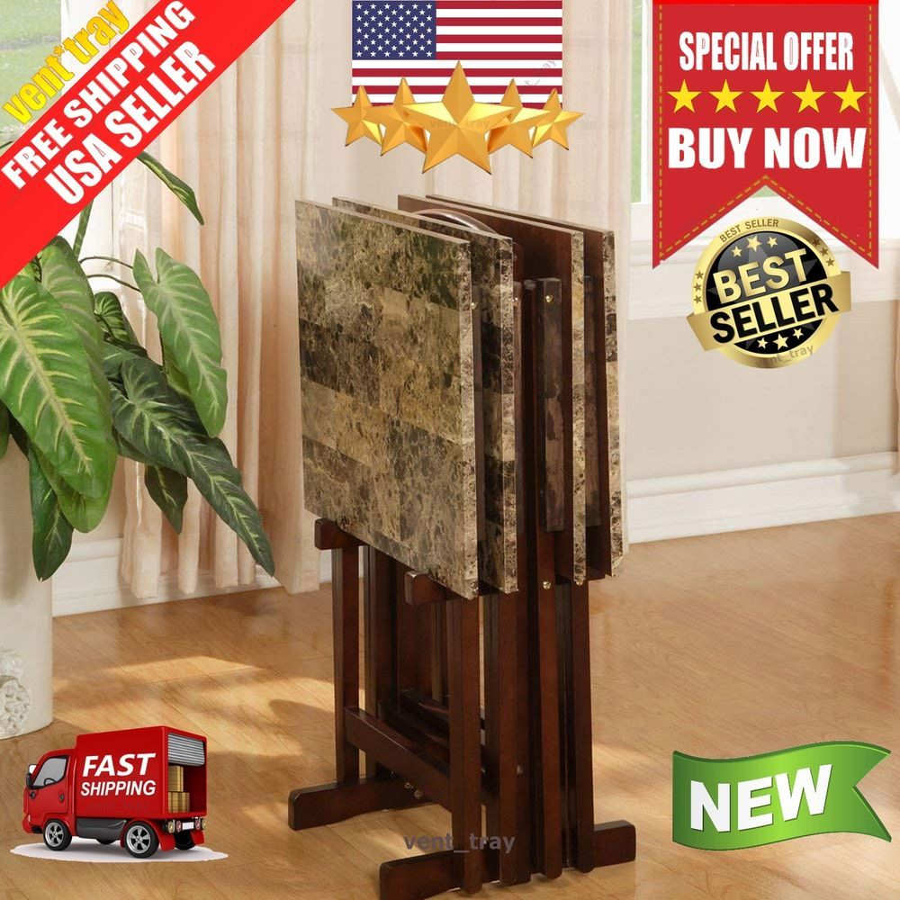 Tv Dinner Tray Set Of 4 Faux Marble With Stand Wood Folding Living Room Table 69 99 End Date Thursday Dec 13 2018 6 40 06 Pst It Now