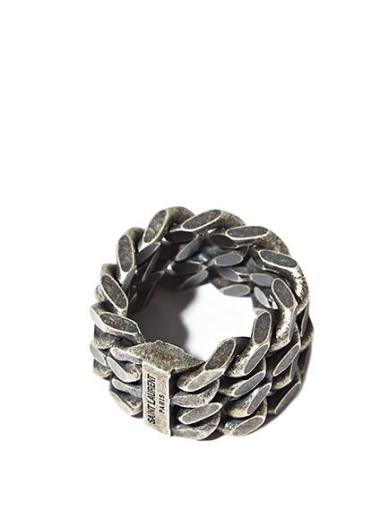 Saint Laurent Mens Silver Double Chain Ring Rings