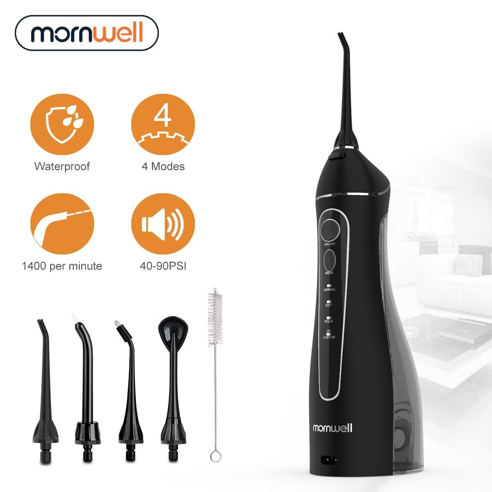 Mornwell Portable Oral Irrigator With Travel Bag Water Flosser Usb Rechargeable 5 Nozzles Water Jet 200ml Water Tank Waterproof Boughtagain Water Flosser Oral Flosser