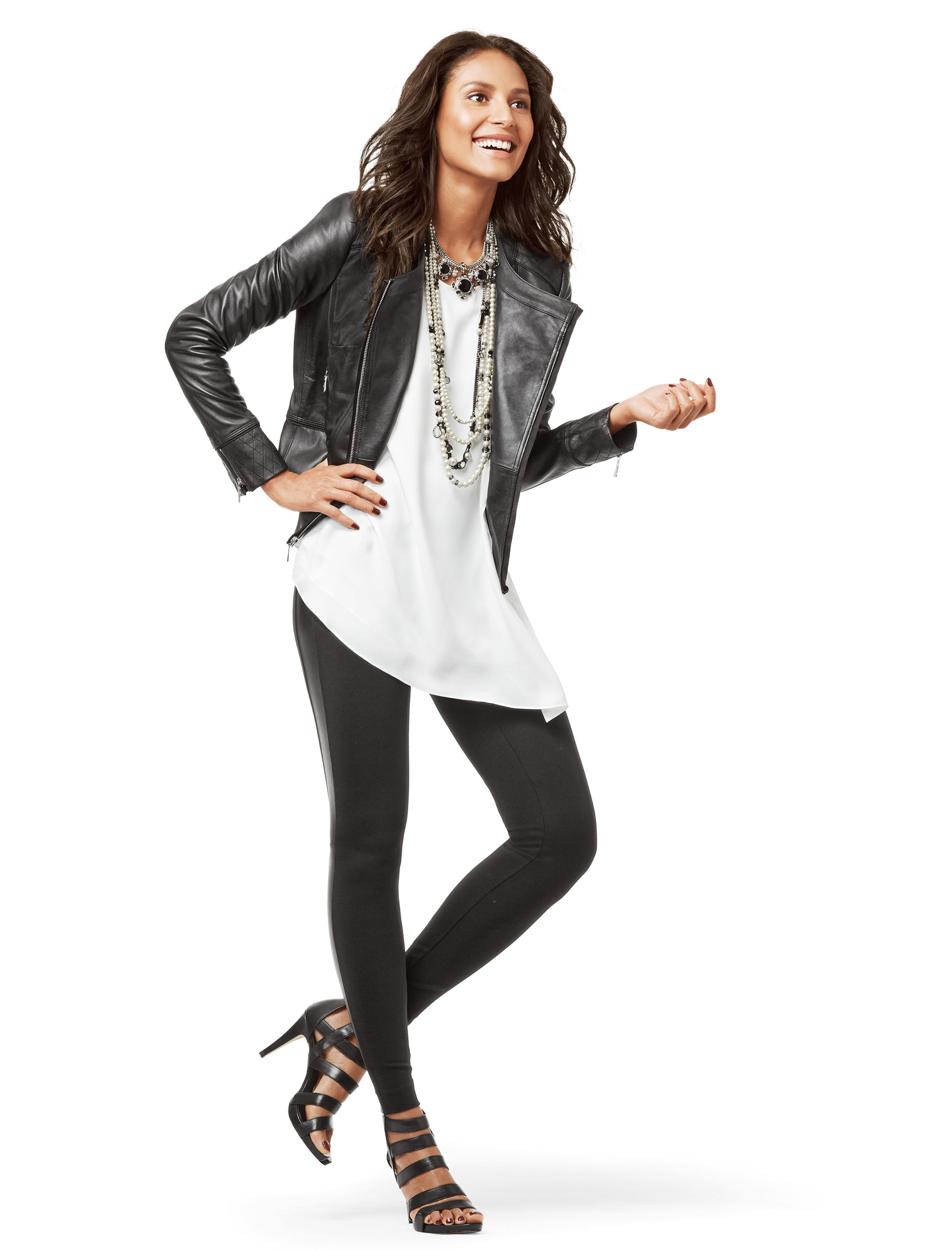 Dress up your leggings with a silk tunic and chic leather
