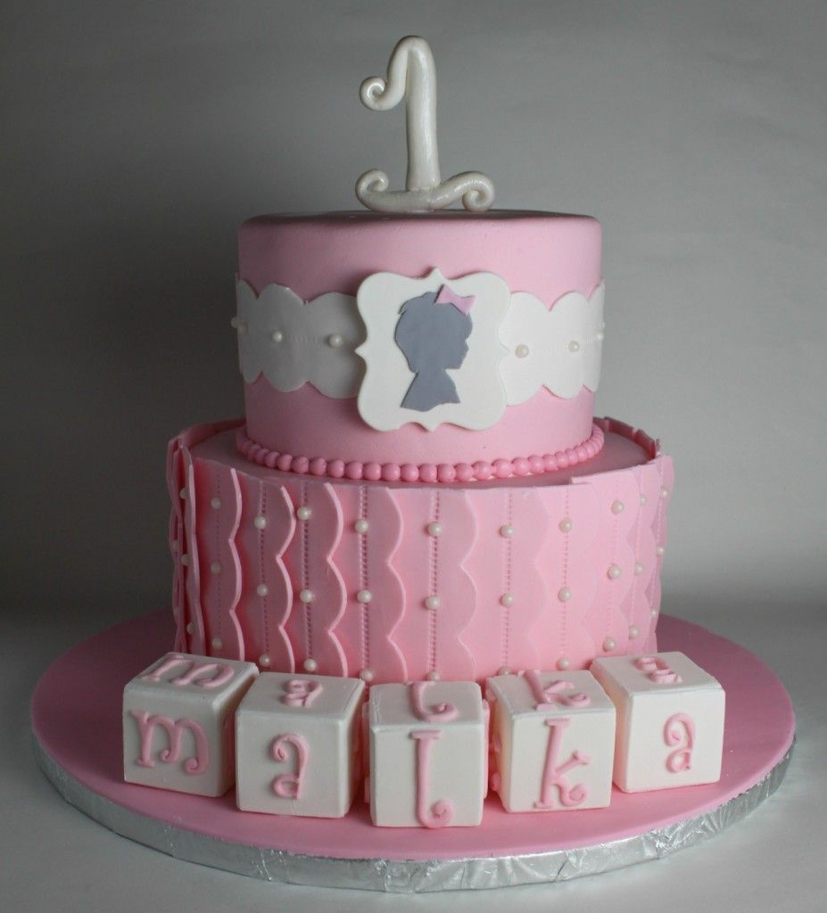 Silhouette First Birthday Cake Lil Miss Cakes Pinterest
