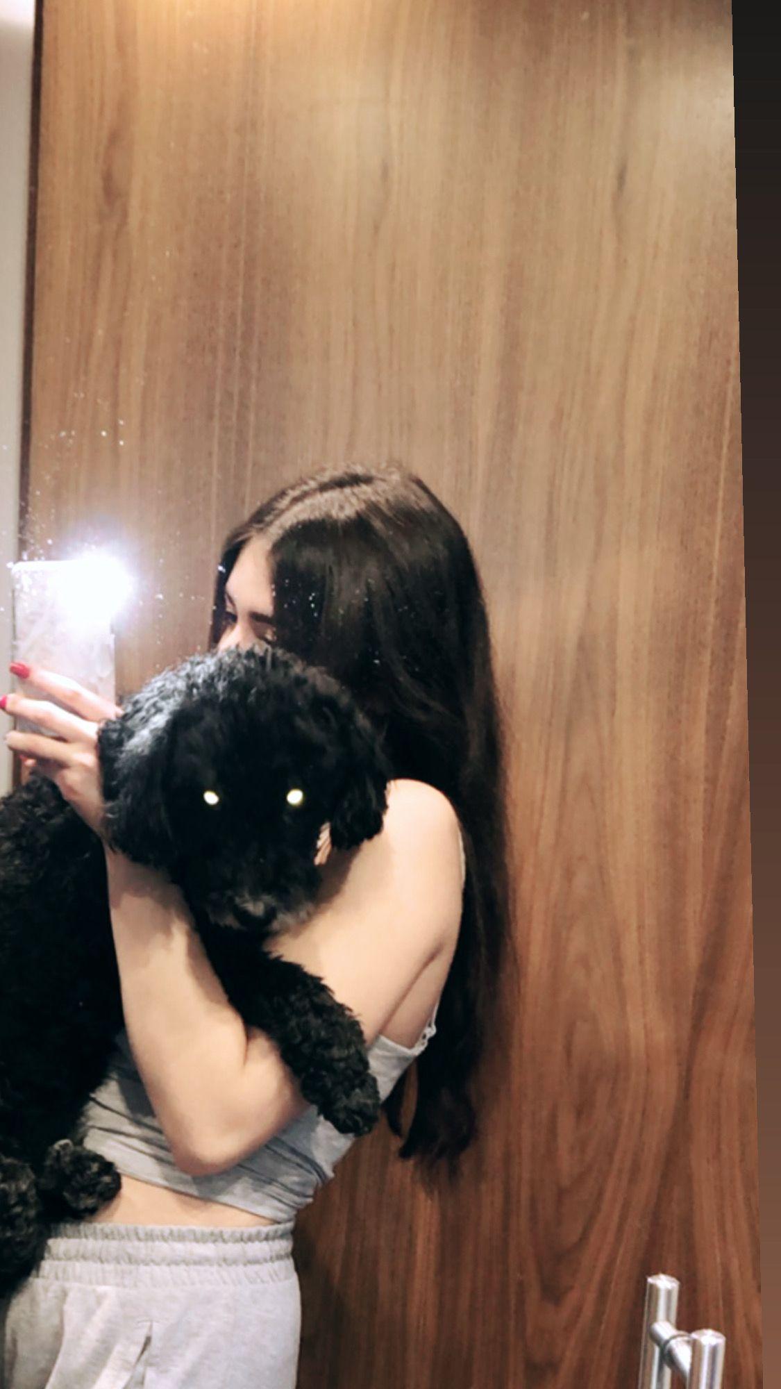 #dog #poodlepuppy #cuddle #cutedogs #cute #doglovers #brunettehair #longhair #joggerpants #loungewear #mood #hug