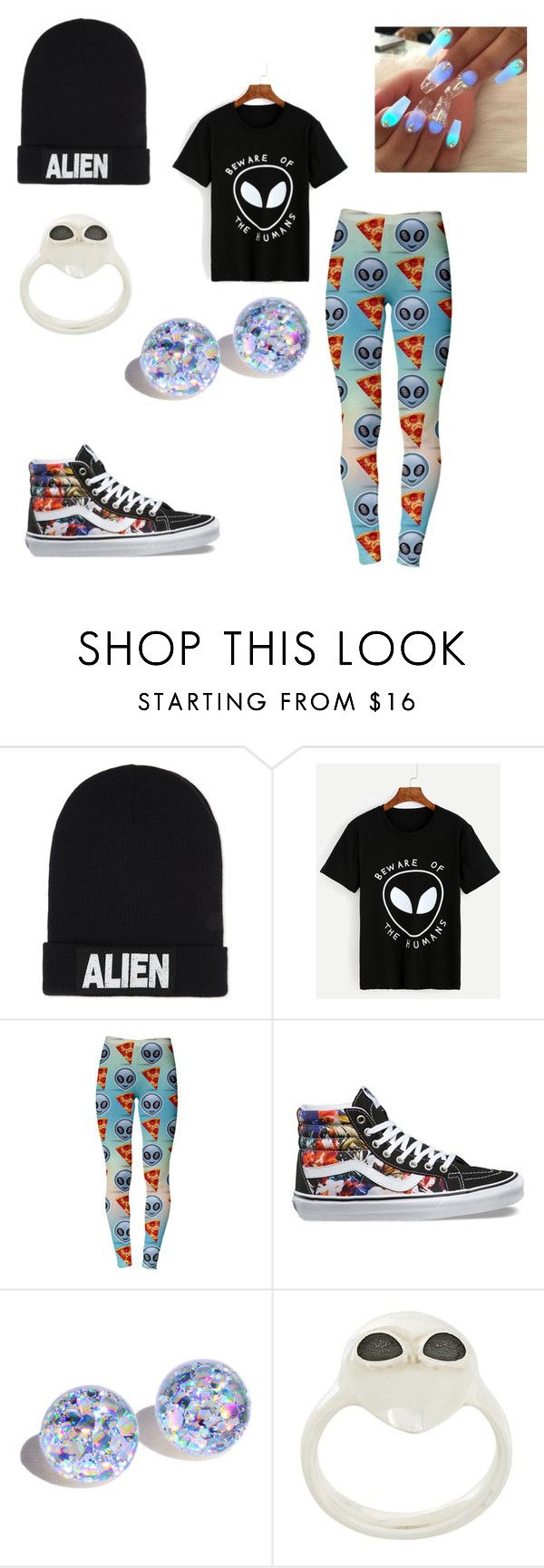 """I'm Secret An Alien..."" by sinsanity1524 ❤ liked on Polyvore featuring Nicopanda, Vans and Alina Abegg"