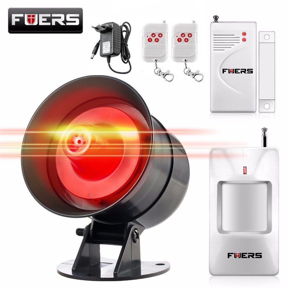 Fuers DIY Wireless 110db Loud Security Siren Rapid Code Strobe Siren Alarm Sound Flash Alarm System For Home Burglar Security