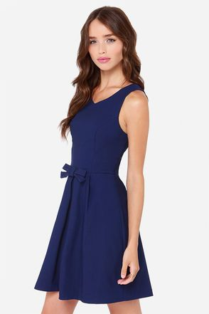 Pretty Navy Blue Dress - Fit and Flare Dress - $39.00