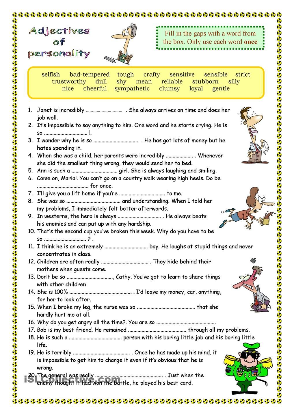 Worksheet Adjectives Printables 17 best images about adjectives on pinterest anchors student centered resources and personality adjectives