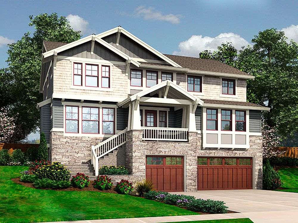 Designed for a front sloping lot this