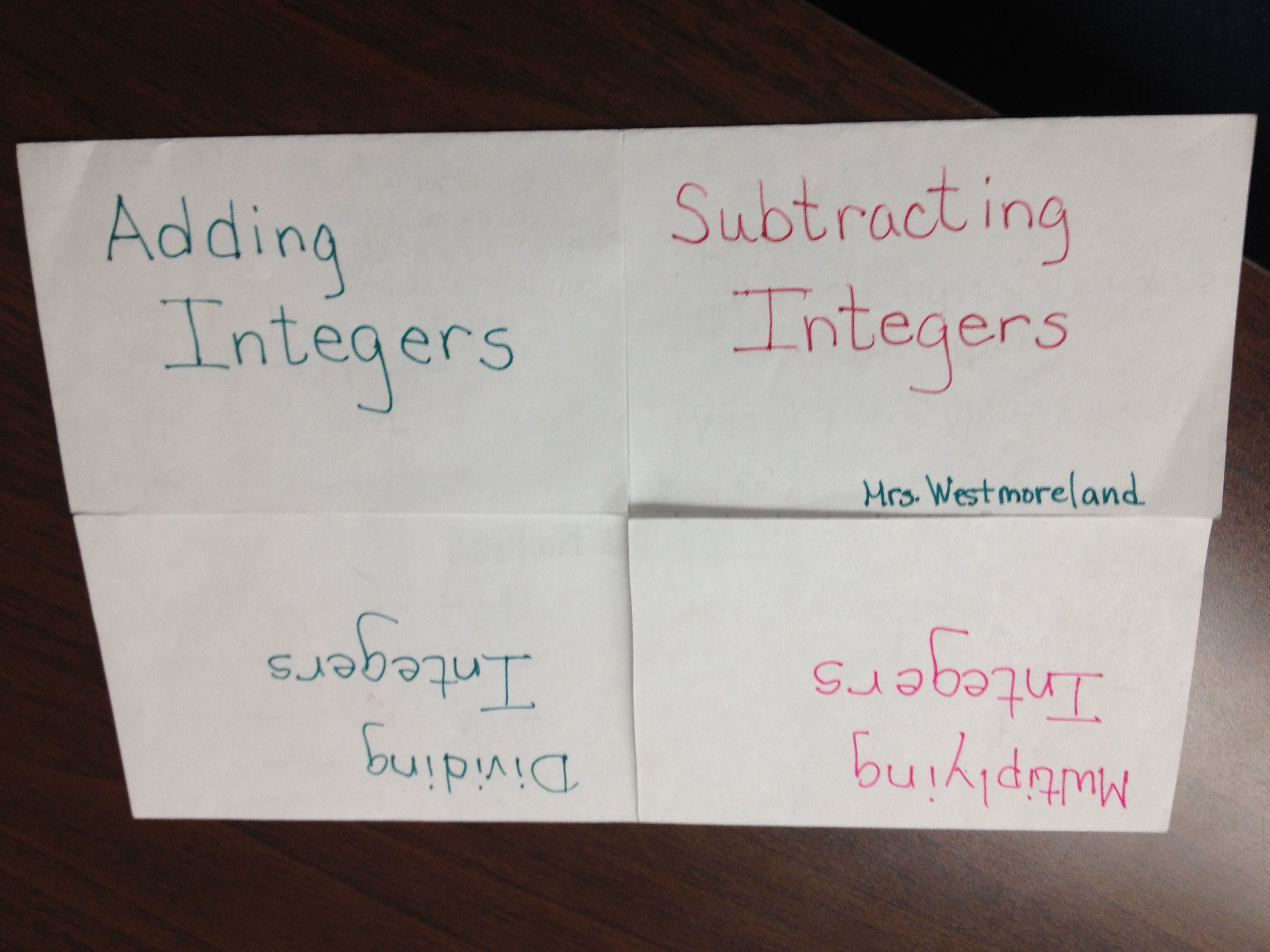 Add And Subtract Integers Foldable