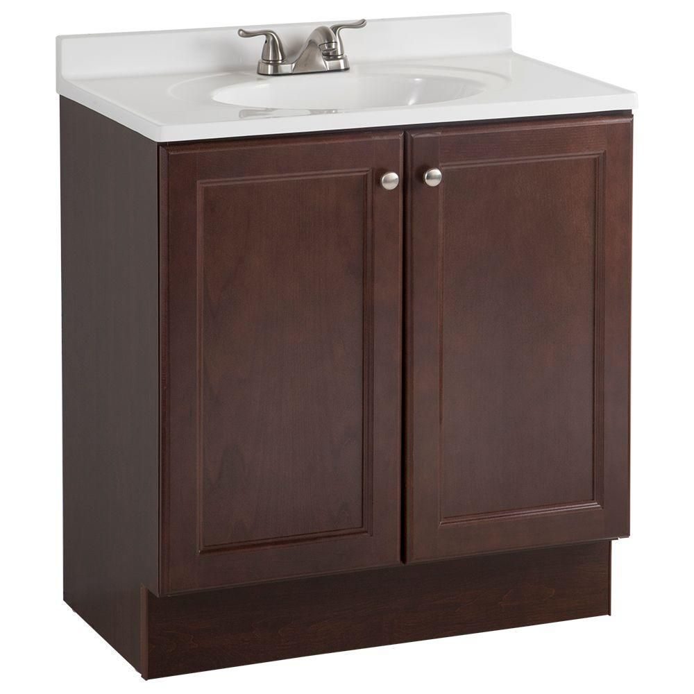 Glacier Bay AllInOne In W Vanity Combo In Chestnut With - Glacier bay bathroom cabinets for bathroom decor ideas