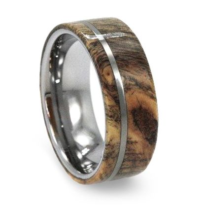 8 mm Buckeye Burl Wood Mens Wedding Bands in Tungsten T233M The