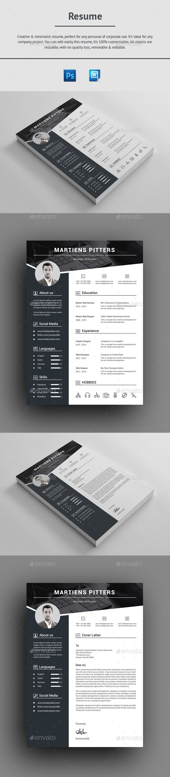 Resume Template PSD, MS Word | Resume Templates | Pinterest