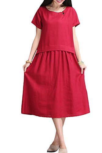 Mordenmiss Womens Casual Short Sleeve Dresses Summer Clothing With Pockets Medium Wine Red >>> Learn more by visiting the image link.