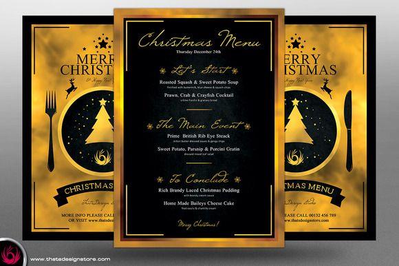 christmas menu template v3 by thatsdesign on creative