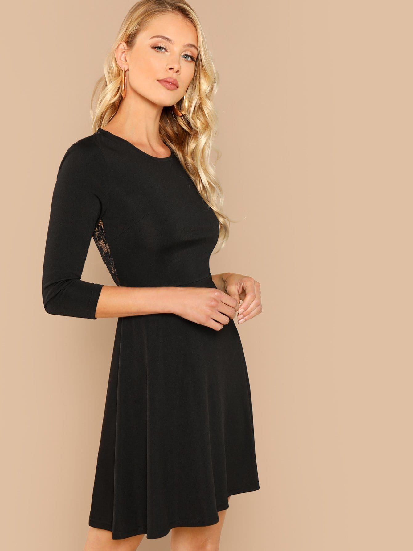 5a312b2459 Sexy A Line Contrast Lace and Backless Plain Fit and Flare Round Neck Long  Sleeve Natural Black Short Length Lace Contrast Backless Dress