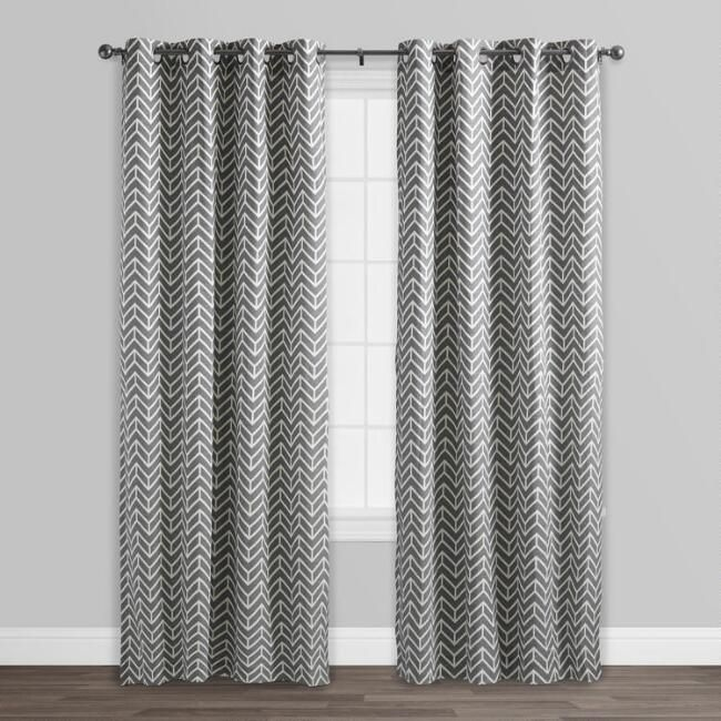 Charcoal Gray Arrow Cotton Curtains Set Of 2 Cotton Curtains
