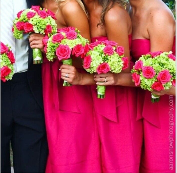 Bridesmaids Dresses And Bouquets Fuchsia And Spring Green
