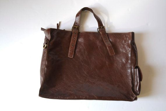 7266ce2e6e Gianni Notaro Made in Italy Distressed Leather Tote Bag by Limbhad ...