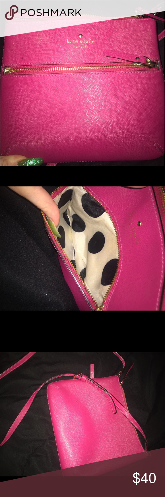 PINK KATE SPADE CROSSBODY Beautiful pink Kate Spade bad is perfect for the spring and can make any outfit. kate spade Bags Crossbody Bags