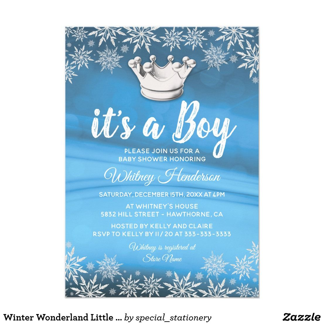 Winter Wonderland Little Prince Boy Baby Shower Card Winter Theme