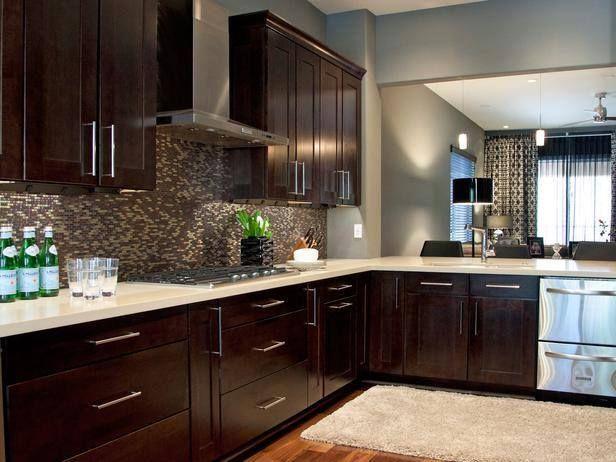 Gabinetes modernos de cocina color caf lagos alto y for Gabinetes cocina modernos