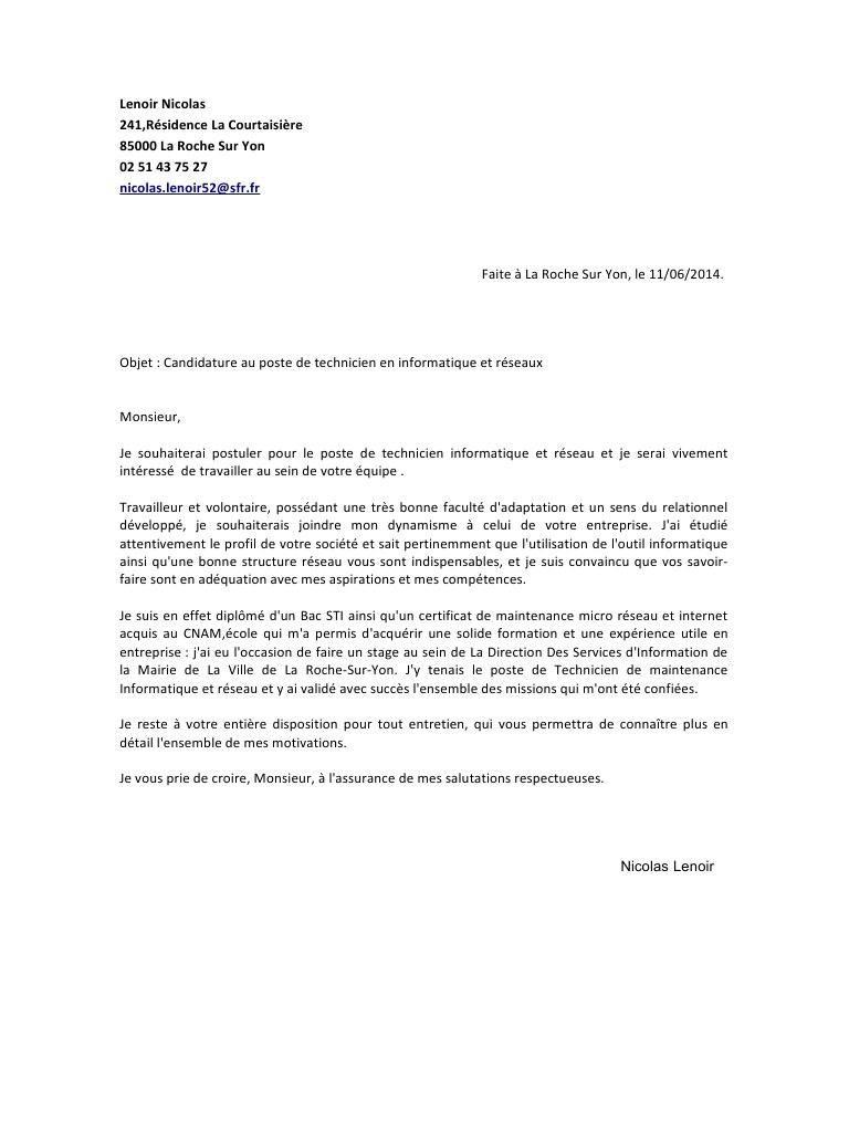 16 Lettre De Motivation Technicien En 2021 Ejemplo De Carta Cartas Mochilas De Tela