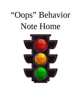 HoJo used this note to inform parents whenever their child was moved to yellow or red light at school - FREE - download in Word to edit for your personal needs!